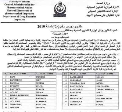 Egypt- Ranitidine Product Precautions